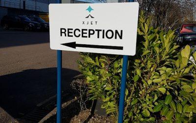 XJET Reception Signage