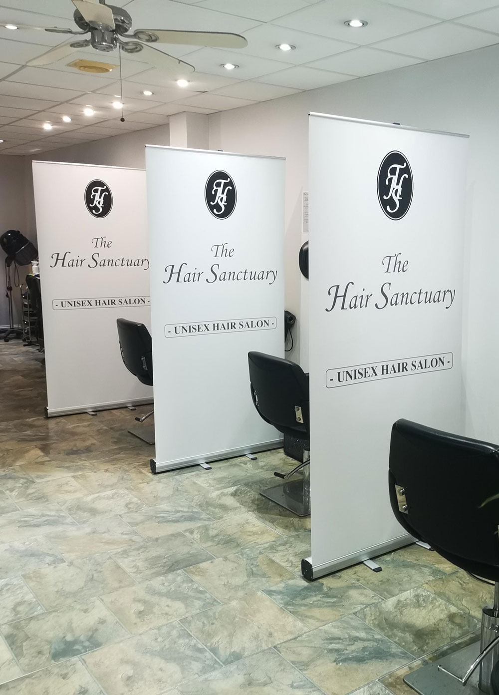 hair sanctuary roller banner dividers